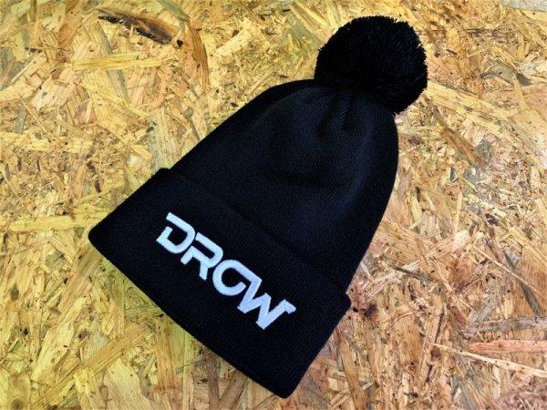画像1: DROWsports Cuff Knit Poofy Ball Beanie - Black (1)